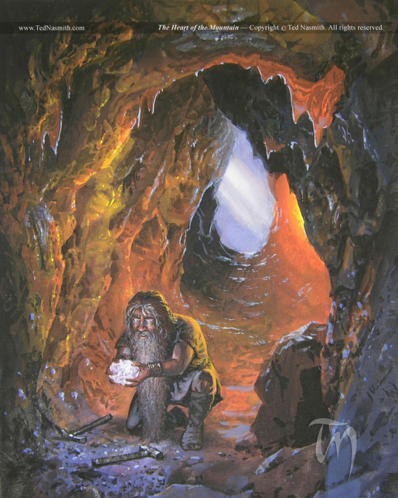 Piatra Strãveche, cãutatã de Thorin. Picturã de Ted Nasmith